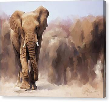 Elephant Painting Canvas Print by Michael Greenaway