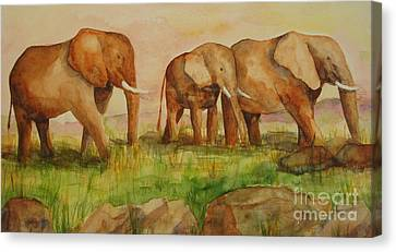 Elephant Parade Canvas Print by Vicki  Housel