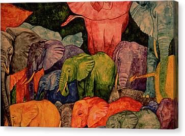 Elephant Party Canvas Print by Dee Van Houten