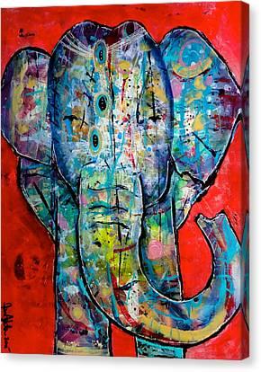 Elephant Redux Canvas Print by Jenn Ashton