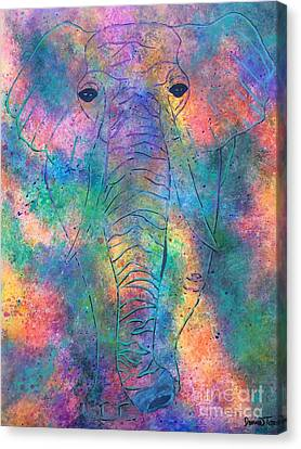 Canvas Print featuring the painting Elephant Spirit by Denise Tomasura