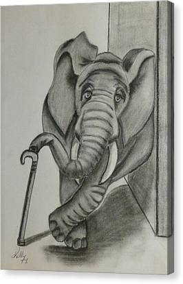 Canvas Print featuring the drawing Elephant Still Waiting by Kelly Mills