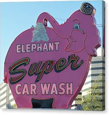 Elephant Super Car Wash Canvas Print by Randall Weidner