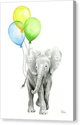 Elephant Watercolor Baby Animal Nursery Art Canvas Print