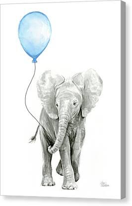 Elephant Watercolor Blue Nursery Art Canvas Print