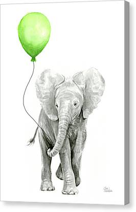Elephant Watercolor Green Balloon Kids Room Art  Canvas Print