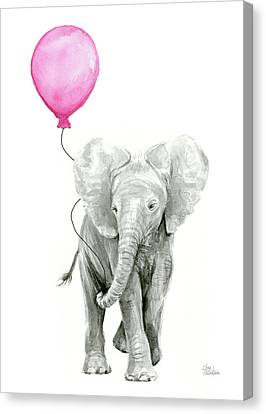 Elephant Watercolor With Pink Balloon Canvas Print