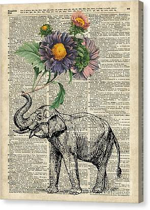 Elephant With Flowers Canvas Print by Jacob Kuch