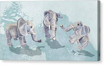 Elephants In Blue Canvas Print by Angeles M Pomata