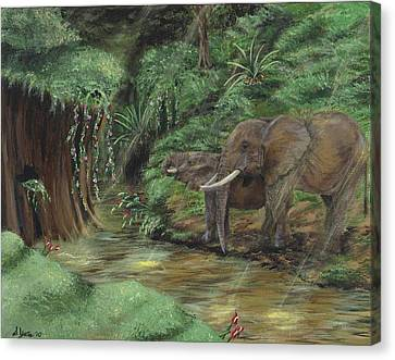 Elephants In The Jungle Canvas Print by Stephanie Yates