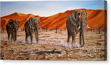 Elephants Namib Trek Oil Painting Canvas Print by Avril Brand