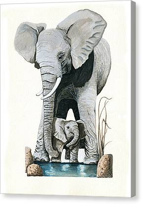 Elephants - Protect Our Children Wildlife Painting Canvas Print