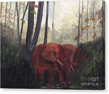 Elephants Canvas Print by Trilby Cole