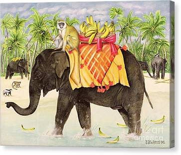 Elephants With Bananas Canvas Print