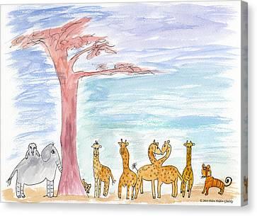 Elephoot By Baobab Tree Canvas Print