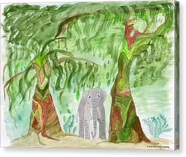 Elephoot Under The Banyans Canvas Print