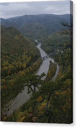 Elevated Autumn View Of The Nolichucky Canvas Print