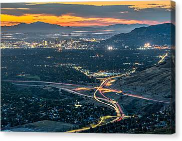 Elevated View Of Salt Lake City After Sunset Canvas Print