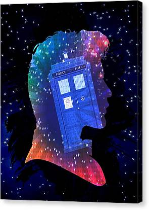 Doctor Who Inspired Eleventh Doctor Tardis Canvas Print by Alondra Hanley