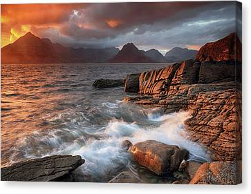 Canvas Print featuring the photograph Elgol Stormy Sunset by Grant Glendinning