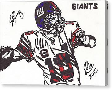 Canvas Print featuring the drawing Eli Manning by Jeremiah Colley