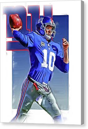 Eli Manning New York Giants Oil Art 2 Canvas Print by Joe Hamilton
