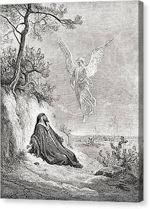 Elijah Nourished By An Angel. After A Canvas Print by Vintage Design Pics