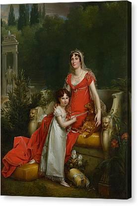 Elisa Bonaparte With Her Daugher Napoleona Baciocchi Canvas Print by Francois Gerard