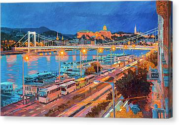 Elisabeth Bridge With Lights Canvas Print