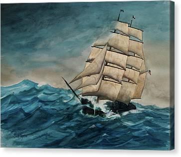 Elissa At Sea Canvas Print by Frank SantAgata