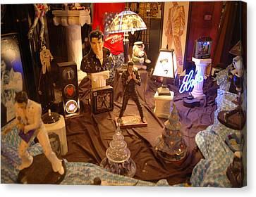 Elivis Presley Store Window Beale Street Memphis Tennessee Canvas Print by Wayne Higgs