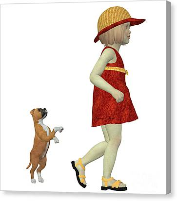 Eliza With Boxer Puppy Canvas Print by Corey Ford