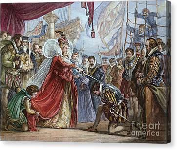 Elizabeth I/francis Drake Canvas Print by Granger