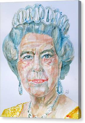 Canvas Print featuring the painting Elizabeth II - Watercolor Portrait.2 by Fabrizio Cassetta