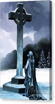 Elizabeth Praying For Tannhauser Canvas Print by Ron Embleton