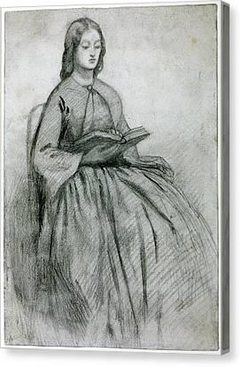 Elizabeth Siddall In A Chair Canvas Print by Gabriel Rossetti