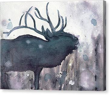 Canvas Print featuring the painting Elk by Dawn Derman