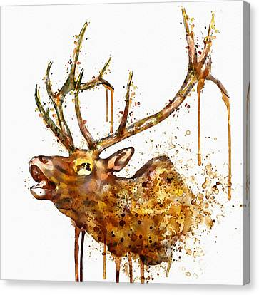 Modern Digital Art Canvas Print - Elk In Watercolor by Marian Voicu