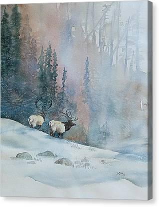 Elk In Winter Canvas Print