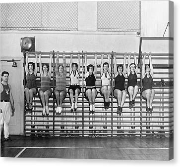 Fitness Instructor Canvas Print - Elk Wives Workout by Underwood Archives