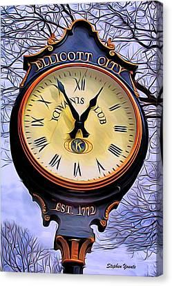 Ellicott City Clock Canvas Print by Stephen Younts