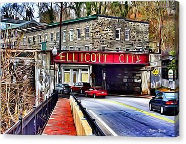 Shopping Canvas Print - Ellicott City by Stephen Younts
