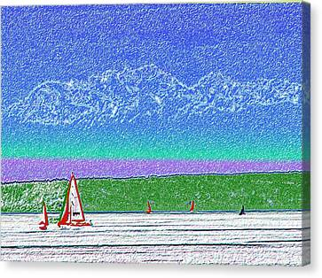Elliott Bay Sail Canvas Print by Tim Allen