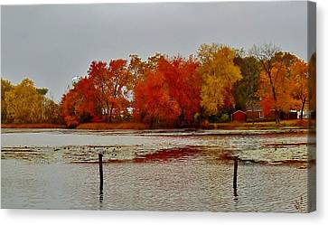 Canvas Print featuring the photograph Elmer Lake In Autumn by Ed Sweeney