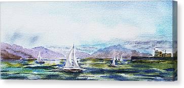 Elongated Seascape Painting Canvas Print