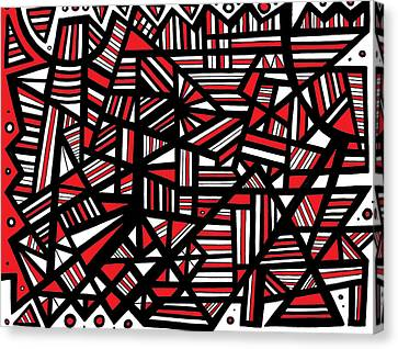 Eloquence Abstract Art Red White Black Canvas Print