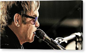 Elton John At The Mic Canvas Print by Elaine Plesser