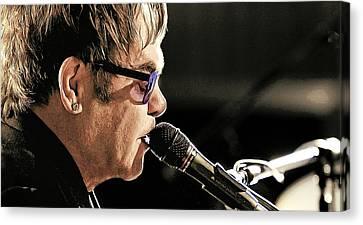 Elton John At The Mic Canvas Print