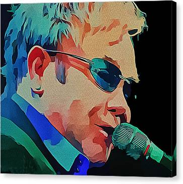 Elton John Blue Eyes Portrait 2 Canvas Print by Yury Malkov