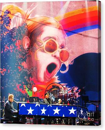 Elton John Then And Now Canvas Print by Allen Meyer